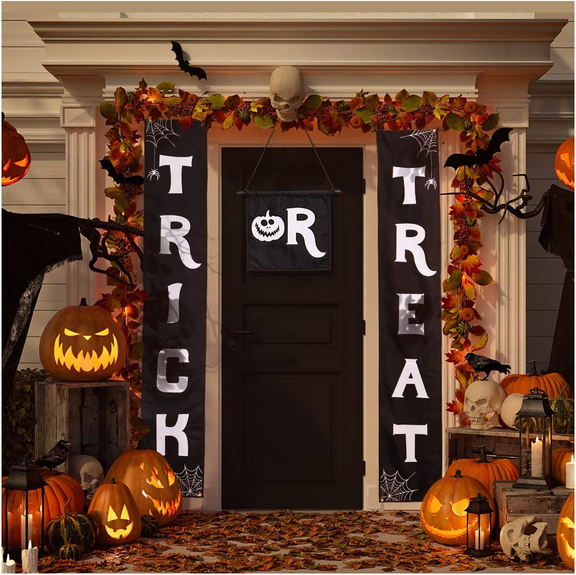 Halloween Banner Halloween Decorations Halloween Signs for Front Door or Indoor Home Decor Porch Decorations, 3 pcs