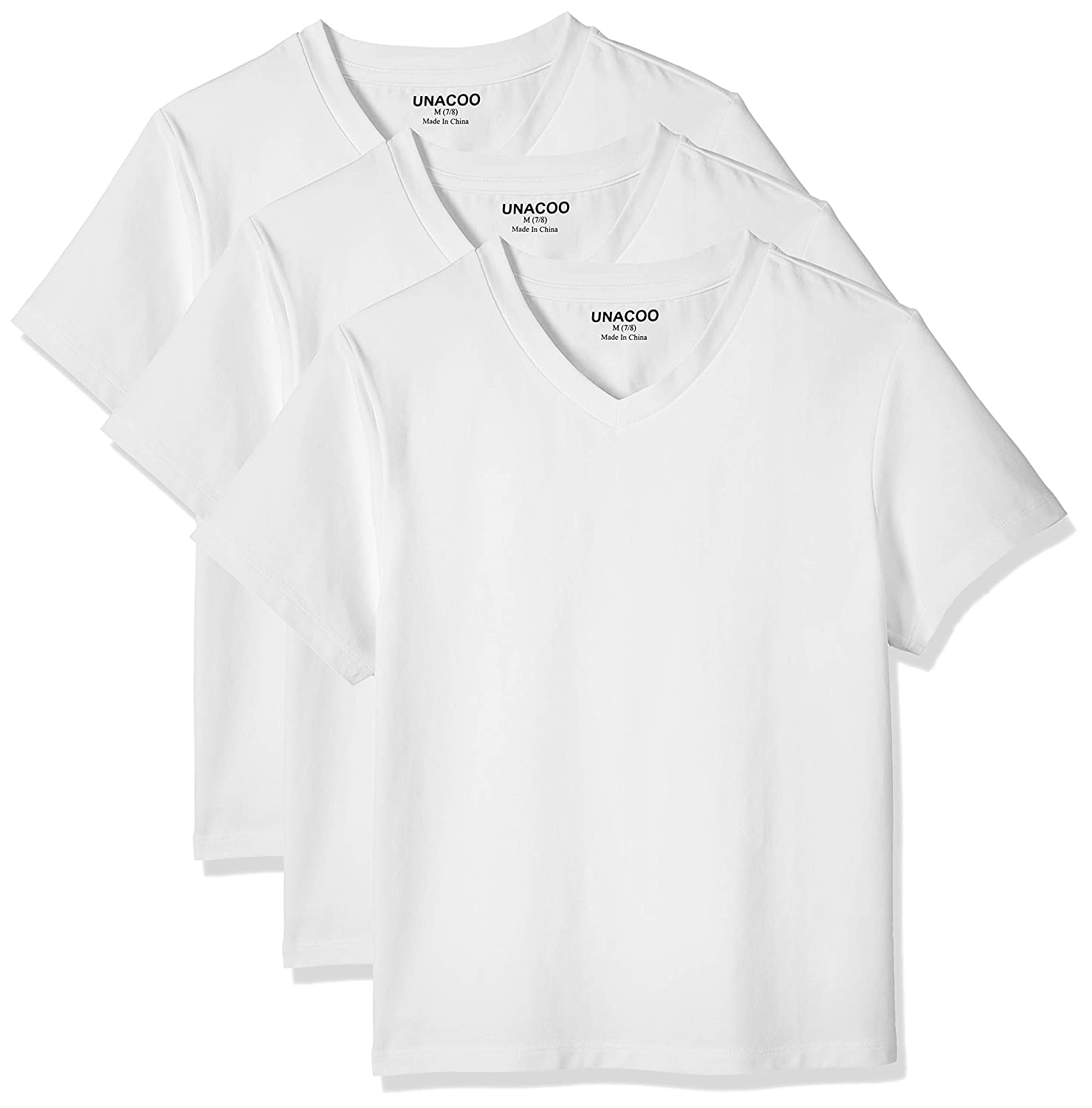 UNACOO 3 Packs Loose Fiting V Neck Stretch Tee Shirts Short Sleeve for Boys and Girls