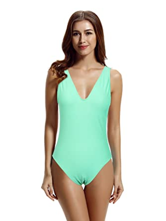 04d5cbee3be7d zeraca Women s Deep V High Cut One Piece Swimsuit Bathing Suits at ...