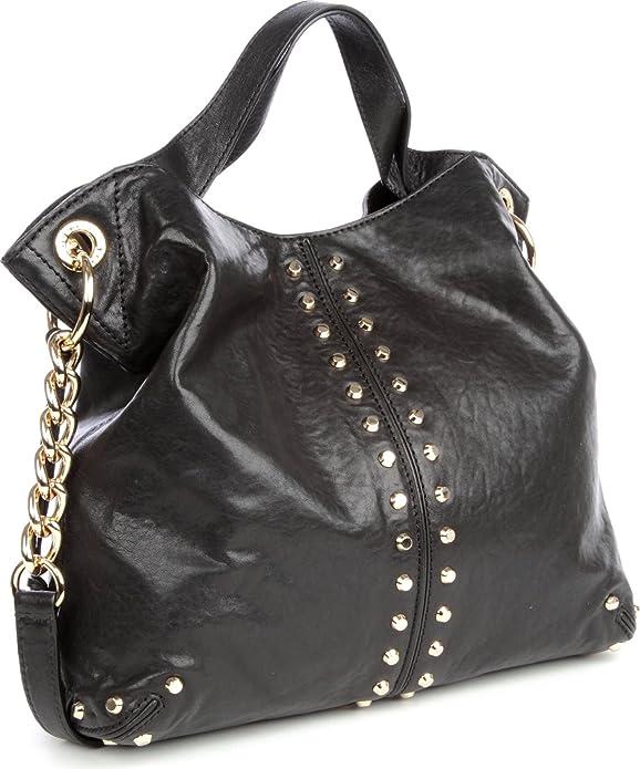 Amazon.com  Michael Kors Uptown Astor Black Leather Studded Large  Convertible Tote Handbag  Shoes 1ed1132585b3b