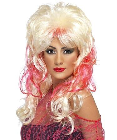 80er Jahre Popstar Perücke Für Damen Blond Blonde Rote