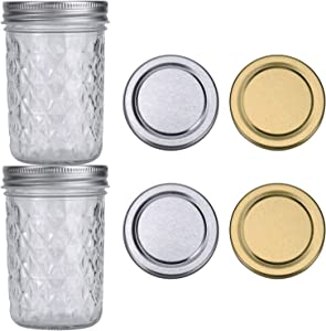 ShiJJ 8oz Mason Jars with Lids Wide Mouth Jars Jelly Jars 2 Pack with 2 Silver Lids + 2 Gold Lids Half Pint Mason Jar Ideal for Canning Food Storage