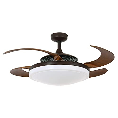 Fanaway 21093301 Evo2 Retractable 4 Blade Indoor Ceiling Fan with Dimmable LED Light Kit and Remote Control, 48 Inch, Oil Rubbed Bronze with Dark Koa