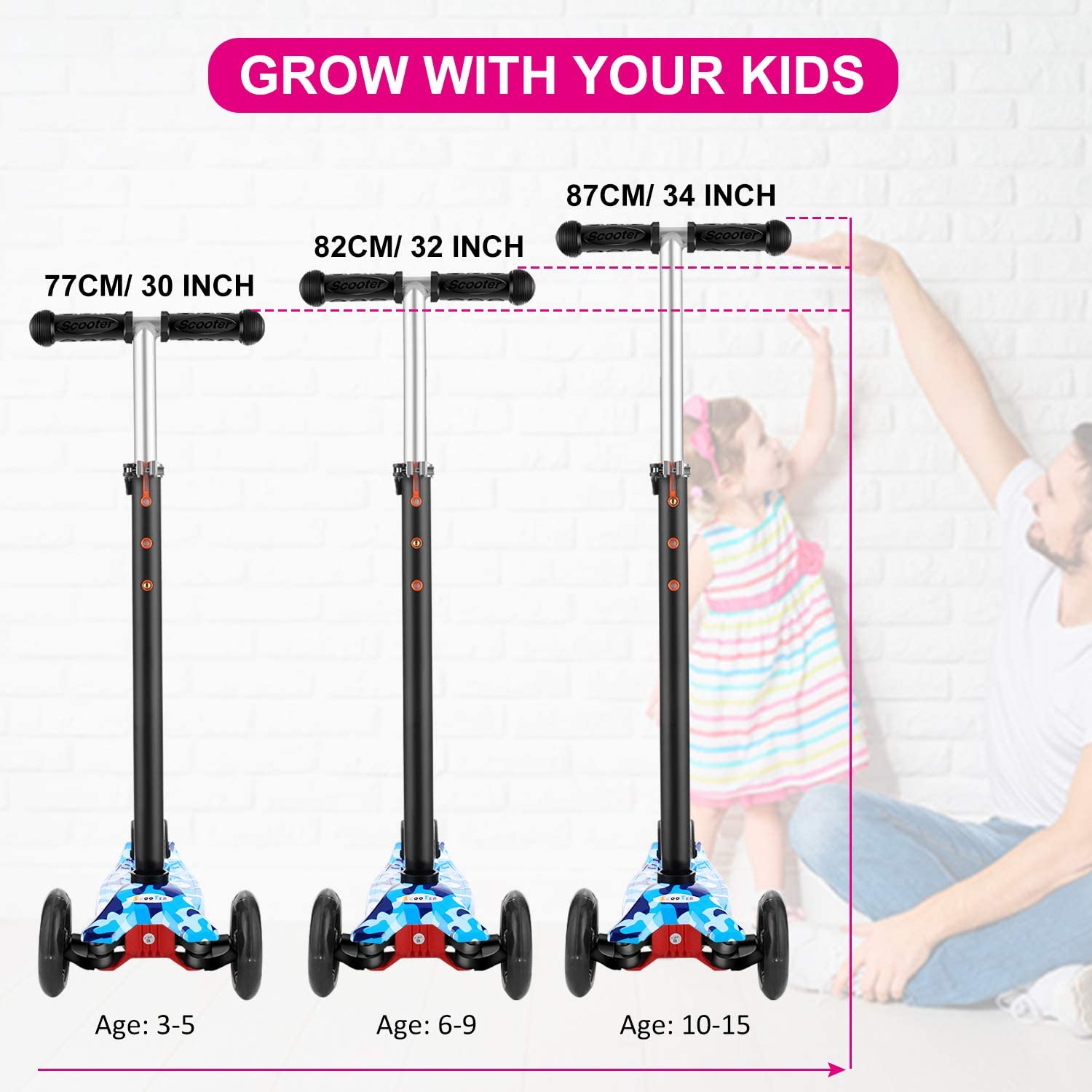 Adjustable Height Scooter for Children Ages 3-12 Kick Scooter for Toddlers Girls /& Boys with LED Light Up Scooters Wheels Hikole Scooter for Kids