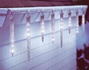 Amazon.com: Hofert 10 Clear LED Dripping Icicle Christmas Lights ...