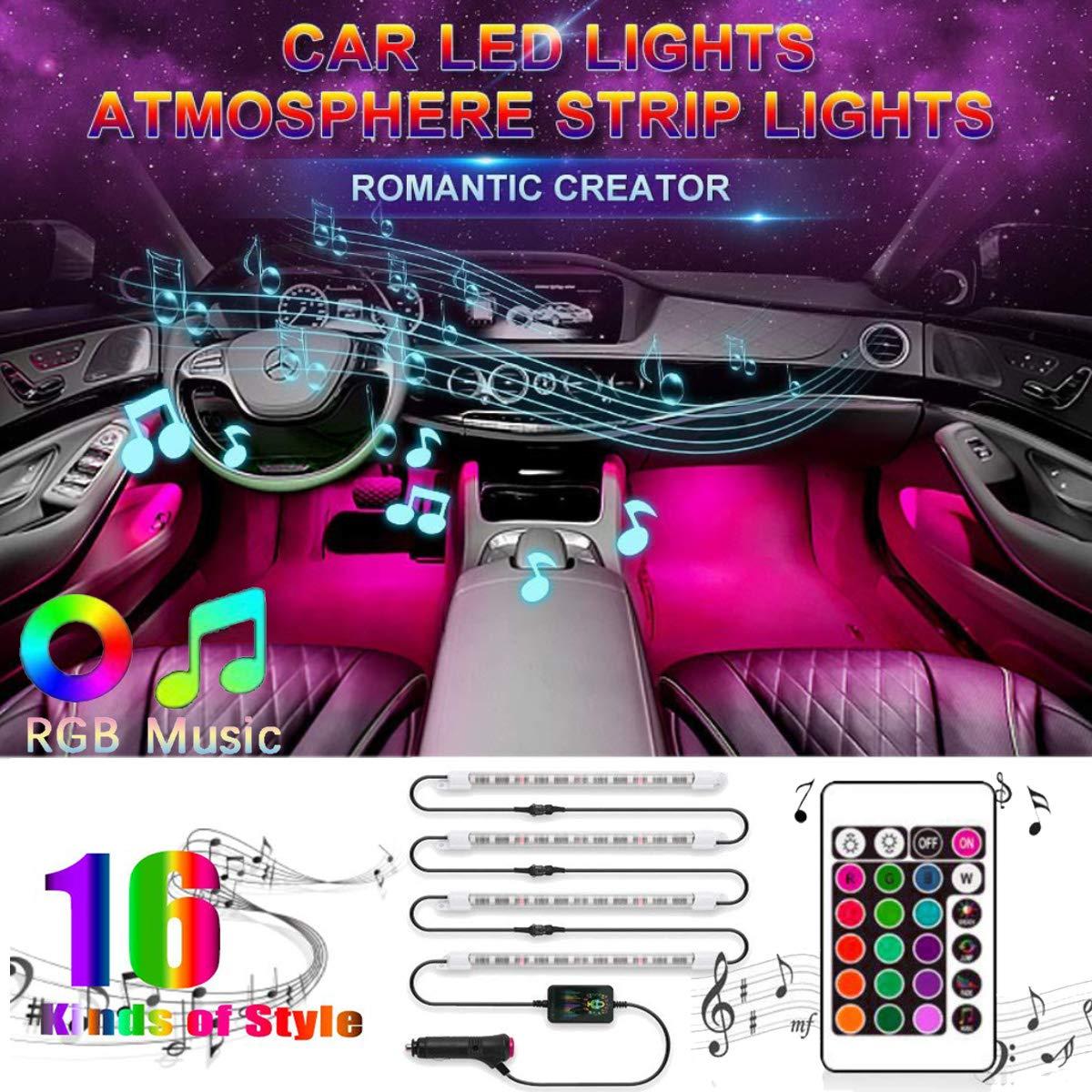 Interior Car LED Strip Lights,EJ's SUPER CAR Unifilar 4pcs 48 RF Controller  Car Interior Lights,One-Line Design Waterproof Multicolor Music Under Dash