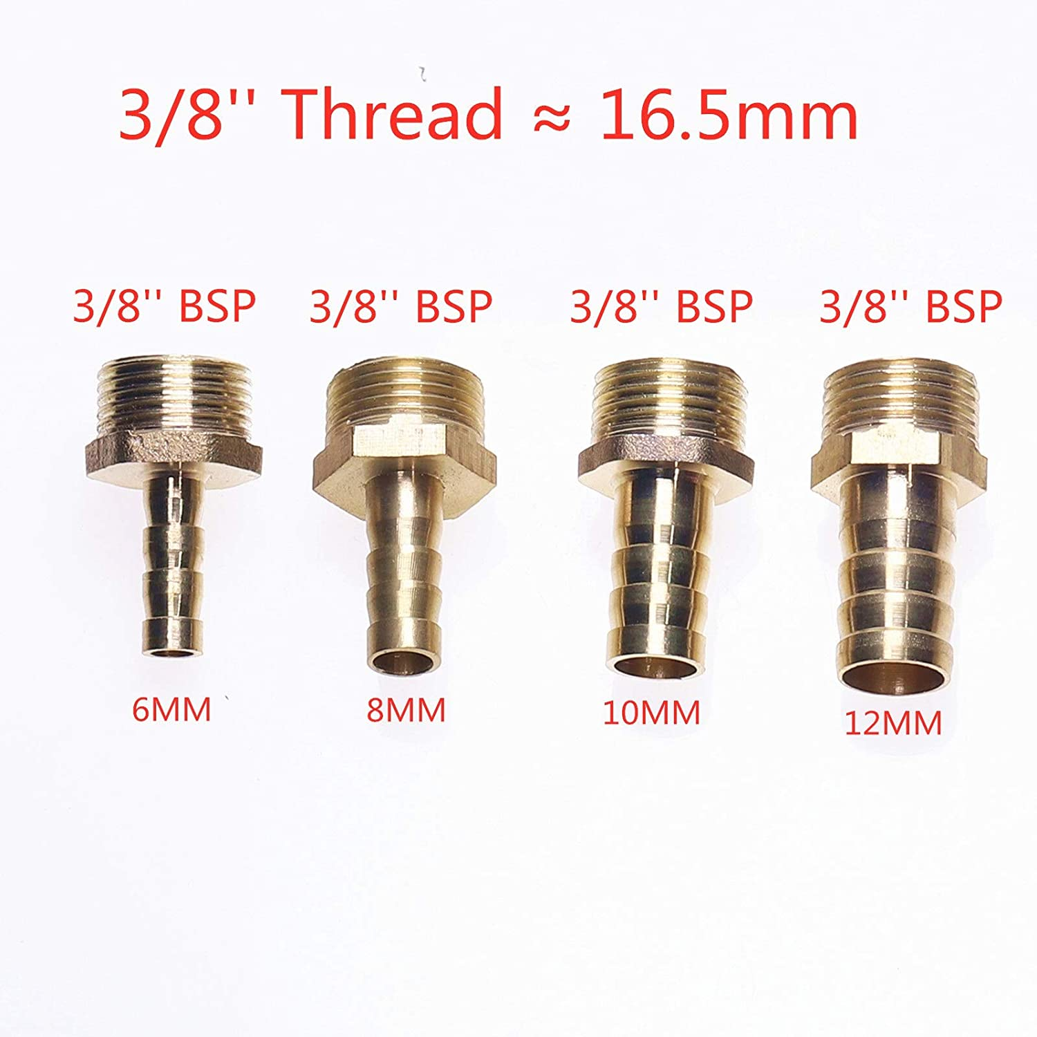 1//4 NOLOGO YOCO 4mm-12mm Brass Pipe Fitting Hose Barb Tail 1//8 Size : 8mm Bard, Thread Specification : 3//8 3//8 1//2 BSP Male Connector Joint Copper Pipe Coupler Adapter Gas Joint