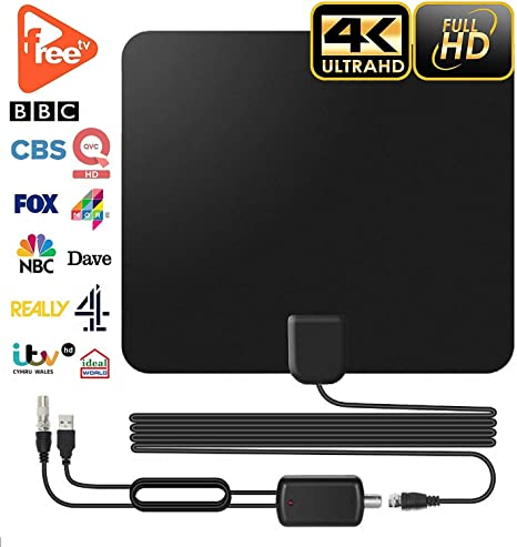 Antena de TV de Interior para Televisión Digital Freeview 60 Millas Amplificada con Cable Coaxial de 3 my Amplificador Desmontable, Compatible con 4K ...