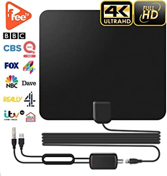 Antena de TV de Interior para Televisión Digital Freeview 60 Millas Amplificada con Cable Coaxial de 3 m y Amplificador Desmontable, Compatible con 4K 1080P HD para Home Smart TV: Amazon.es: Electrónica