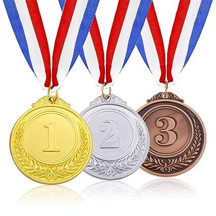 amazon com caydo 3 pieces gold silver bronze award medals olympic