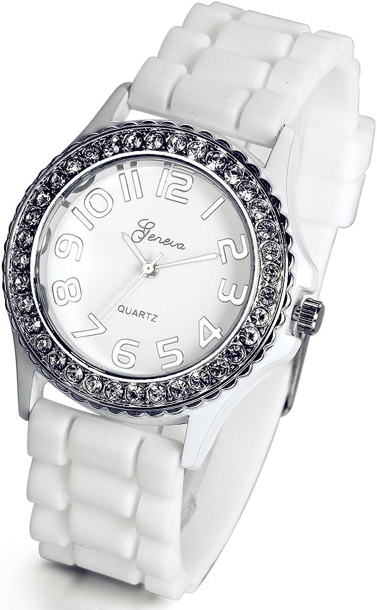 Lancardo Reloj Analógico Elegante de Cuarzo Original Jalea Correa de Silicona Pulsera Electrónica de Moda con Bisel de Diamantes Artificiales Dial con Números Árabes para Mujer Dama