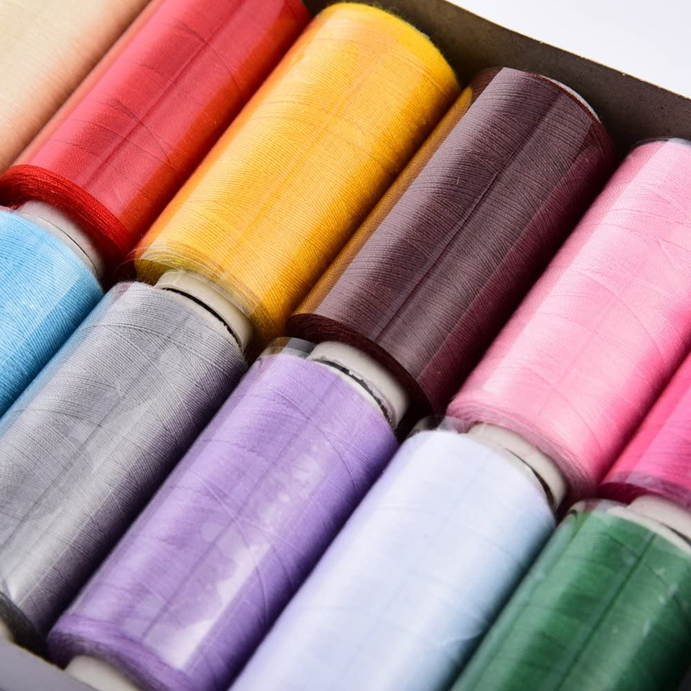 WIN Sewing Thread Set,12 Color 400 Yards Polyester Thread Kit for Hand and Machine Sewing