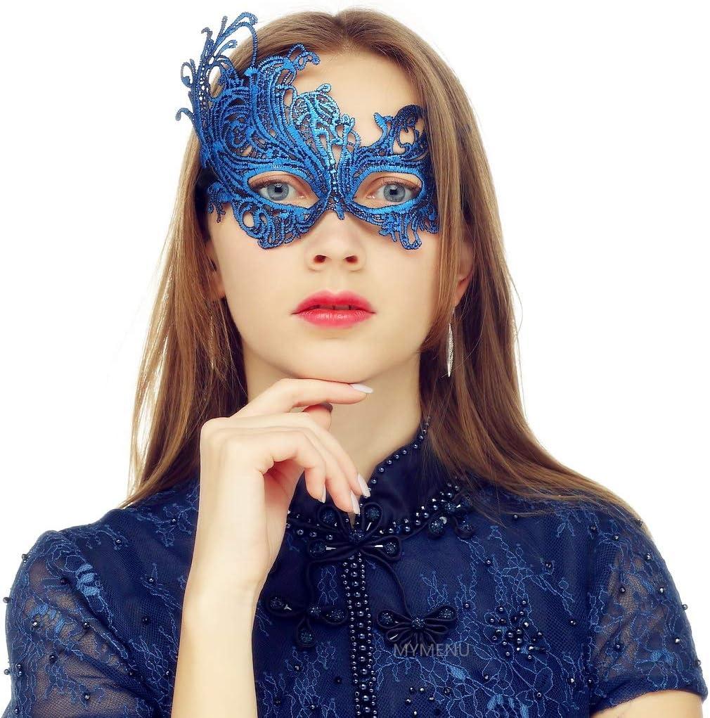 MYMENU Masquerade Mask for Women Vintage Luxury Mask Women's Lace Eye Mask for Masquerade Party Prom Ball Halloween (Phoenix Blue)