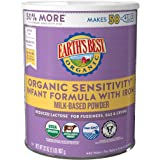 Earth's Best Organic Baby Formula, Low Lactose Sensitivity Infant Formula with Iron, Non-GMO, Omega-3 DHA and Omega-6 ARA, 32