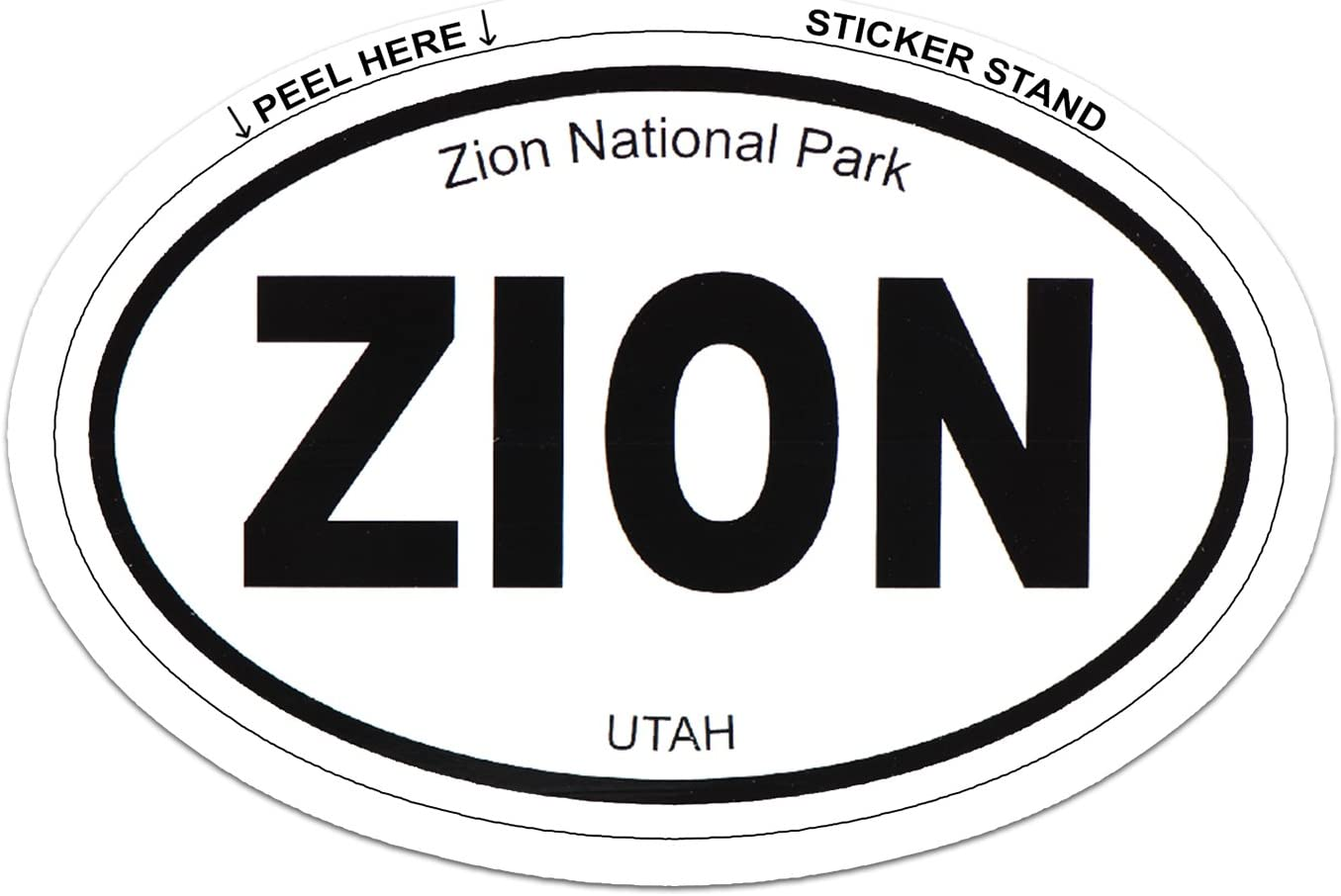 "Zion National Park Oval car bumper sticker 5/"" x 3/"""