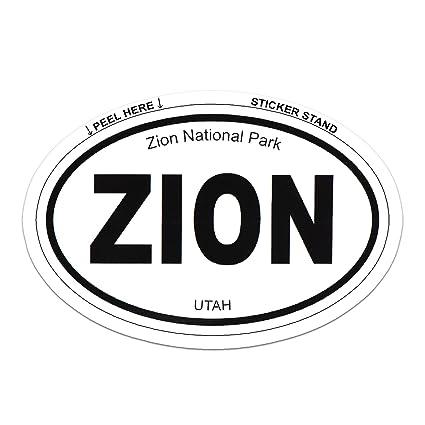 Zion national park oval car bumper sticker 5