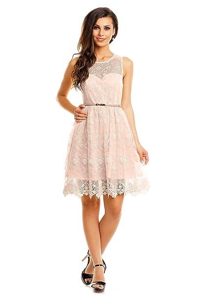 529ea970b3c536 Mayaadi Kleid mit Gürtel Spitzen-Kleid Ball-Kleid Fest-Kleid Abend-Kleid  Party-Kleid Cocktail-Kleid HS-358: Amazon.de: Bekleidung