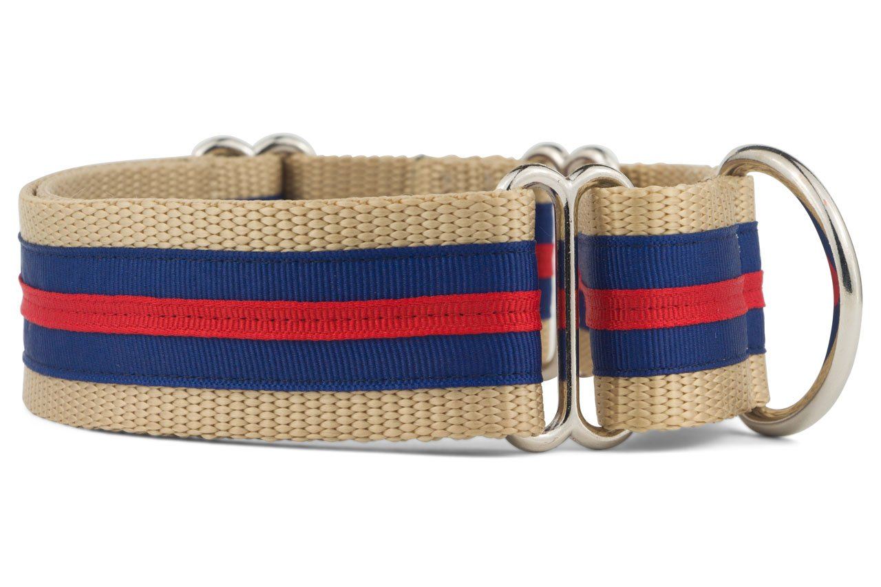 If It Barks - 1.5'' Martingale Collar for Dogs - Stripe Design - Adjustable - Strong and Comfy Nylon - Ideal for Training - Made in USA - Medium, Navy/Red by If It Barks