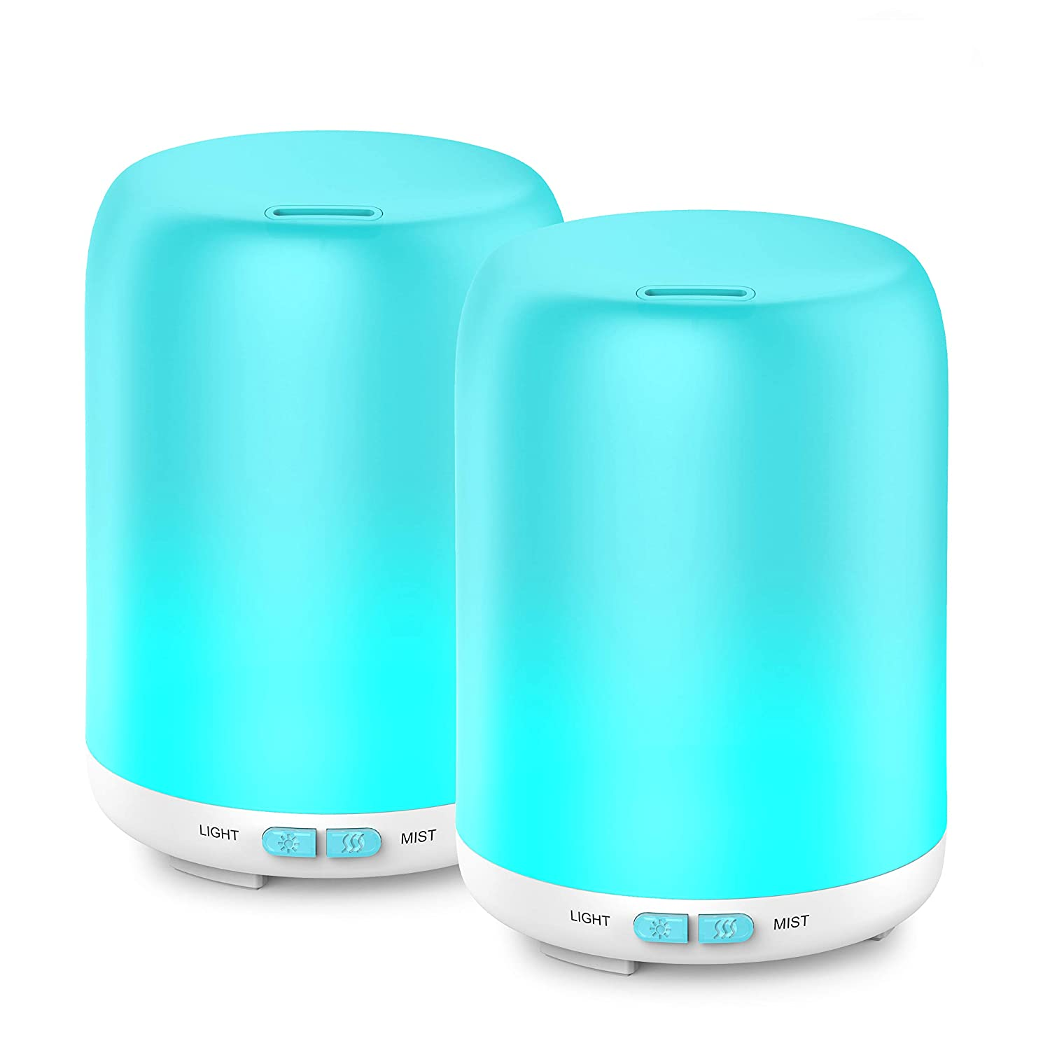 Essential Oil Diffuser, 2 Pack Aroma Diffuser Ultrasonic Cool Mist Aromatherapy with 7 LED lights, Waterless Auto Shut-off for Home Spa Baby Bedroom, 120ml Aptoyu XXJ-006