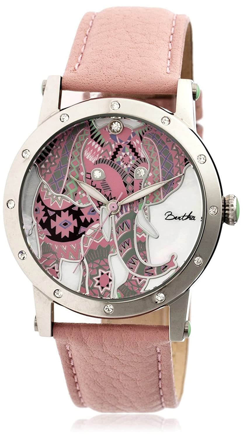 Amazon.com: Bertha Womens BTHBR5702 Betsy Light Pink/Multicolor Leather Watch: Bertha: Watches