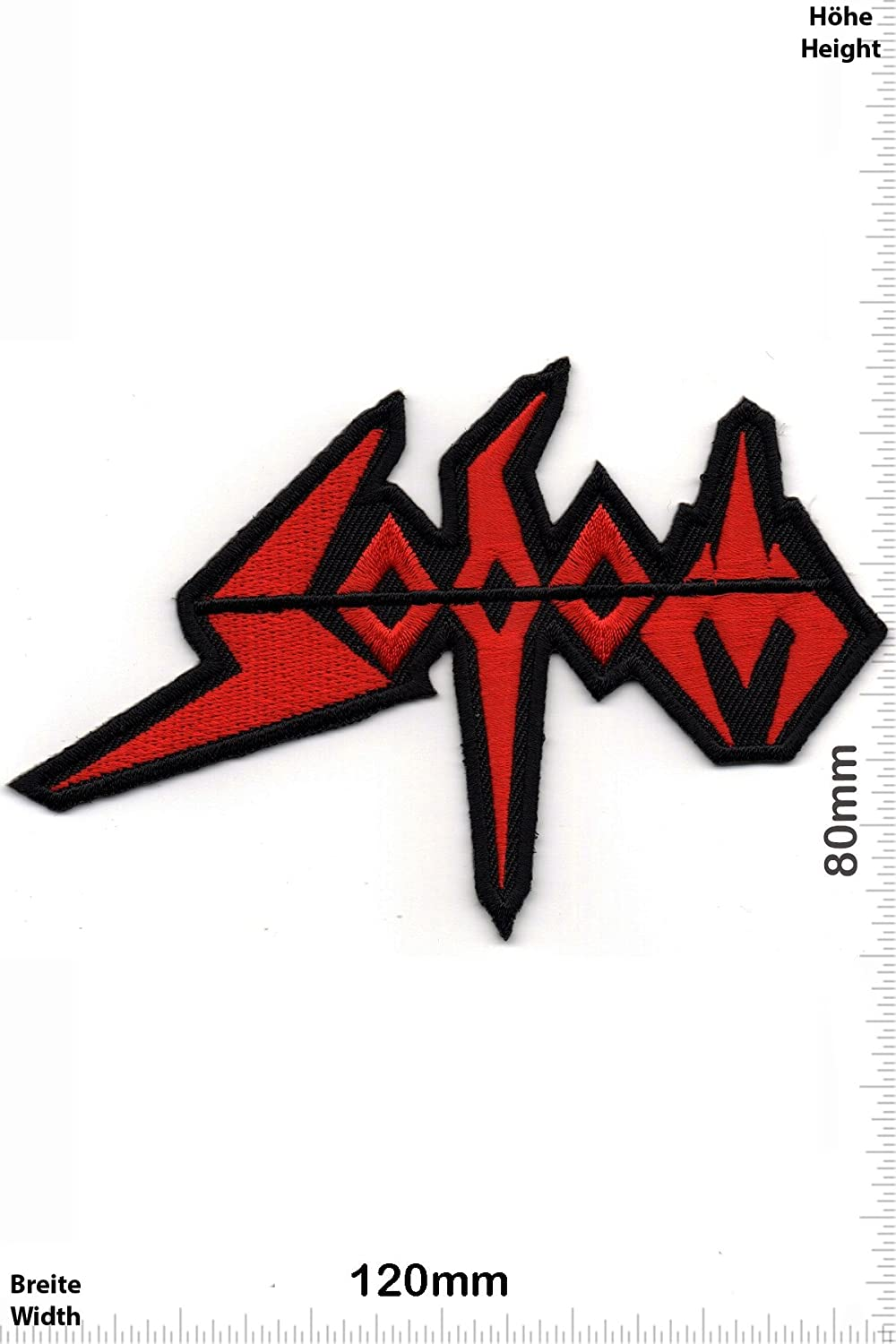 """Patches - SODOM - red - Music - Iron on Patch - Applique embroidery Écusson brodé Costume Cadeau- Give Away"""""""
