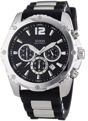 Amazon.com: Guess tono negro Cronógrafo Deportes Reloj para ...