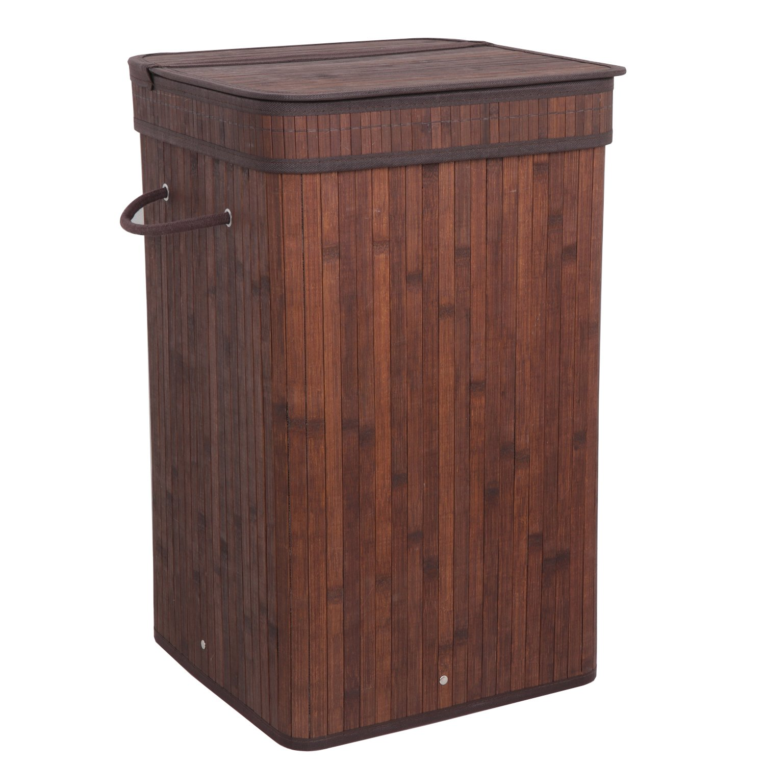 ZENY Square Laundry Hamper with Lid and Cloth Liner, Bamboo, Espresso Easily Transport Laundry Basket Collapsible Hamper w/String Handles (Square)