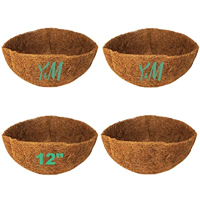 "Pack of 4 12"" Pre-Formed Round Coco Fiber Hanging Basket Liners,Coco Replacement Liner for Hanging Basket: Garden & Outdoor"