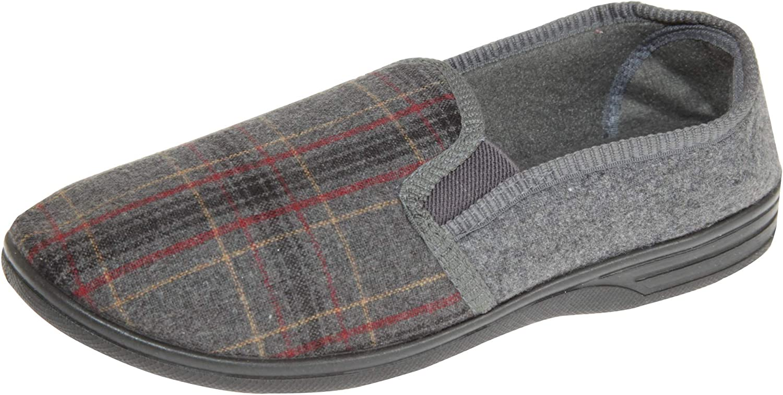 SlumberzzZ Mens Elasticated Tartan Slip-on Slippers