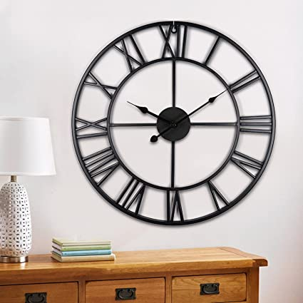 80CM LARGE INDUSTRIAL METAL WALL CLOCK BIG ROMAN NUMERALS GIANT OPEN FACE DECOR