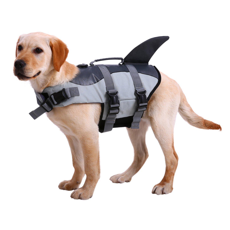 NACOCO Dog Life Jacket Shark Vest Pet Swimsuit Preserver (S, Grey)