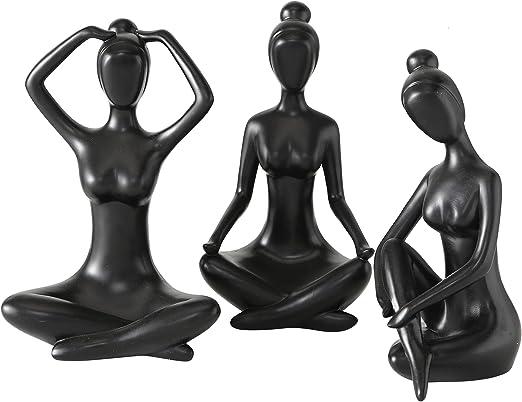 Black Set OwMell Lot of 4 Meditation Yoga Pose Statue Figurine Ceramic Yoga Figure Set Decor