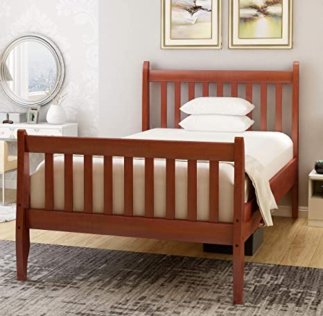Wooden Twin Size Bed.Rhomtree Twin Size Wood Platform Bed Frame Kids Bed With Headboard And Wood Slat Support Mattress Foundation No Box Spring Needed Walnut