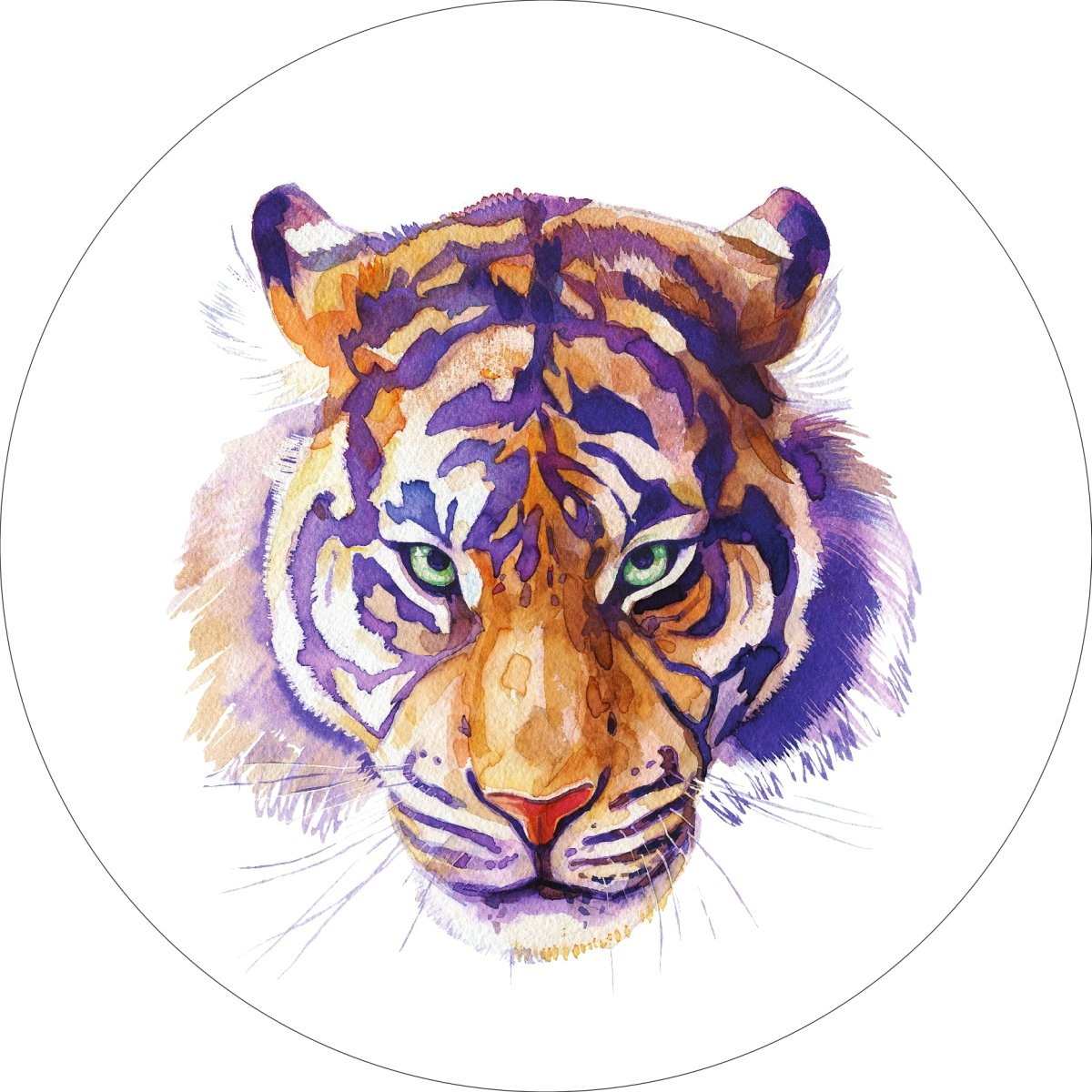 Tiger Home Wall Shelf Decor Animal Decorations Watercolor Round Sign - 18 Inch, Metal