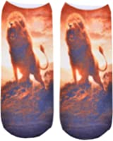 3D Print Socks Lion Casual Charactor Socks Unisex Low Cut Ankle Elastic Socks