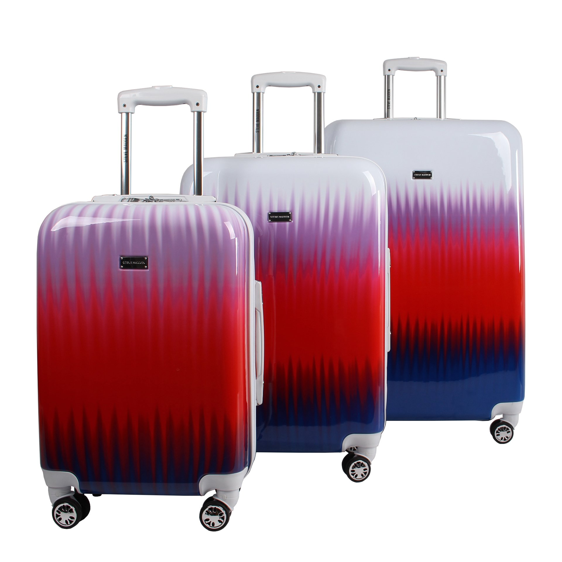 Steve Madden Luggage 3 Piece Hard Case Suitcase Set With Spinner Wheels (Spikes) by Steve Madden