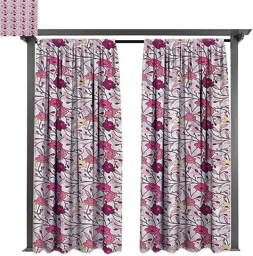 bybyhome - Cortina extra larga para exteriores con diseño de cascada japonesa y estanque bajo el puente, reflejos de flores en patrón de agua, apta para porche frontal, pergola, cabana, patio cubierto: