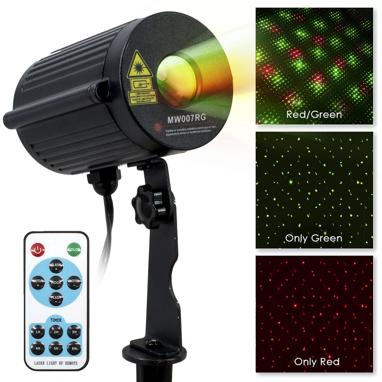LED Concepts Laser Lights —Firefly Laser Projection Lights with Automatic Timer Remote — Ideal Party, Holiday, Christmas, Outdoor, Garden Decor—UL Listed Power Supply —(Red/Green) by LED Concepts
