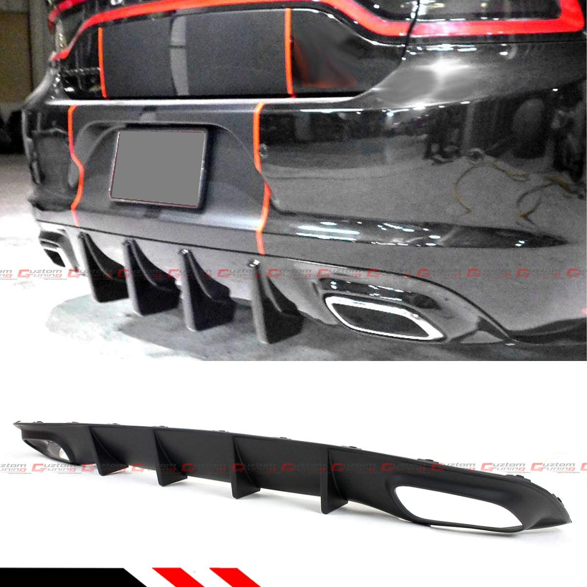 For 2015-2019 Dodge Charger SXT SE Shark Fin Rear Bumper Diffuser Valance Lip-Matt Black