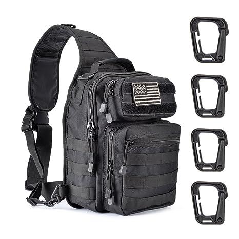 28ed5551125f Weanas Tactical Sling Bag Pack Military Rover Shoulder Sling Backpack Molle  Assault Range Bag with 4 Tactical D-Ring Clips