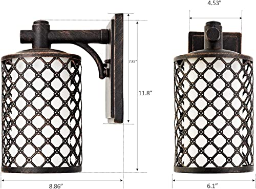 GZBtech Outdoor Wall Light in Oil Rubbed Bronze Finish, Blossom Style Waterproof Vintage Wall Sconce Lighting Fixture, Easy Installed Lantern with Frosted Glass Shade for Patio Garage