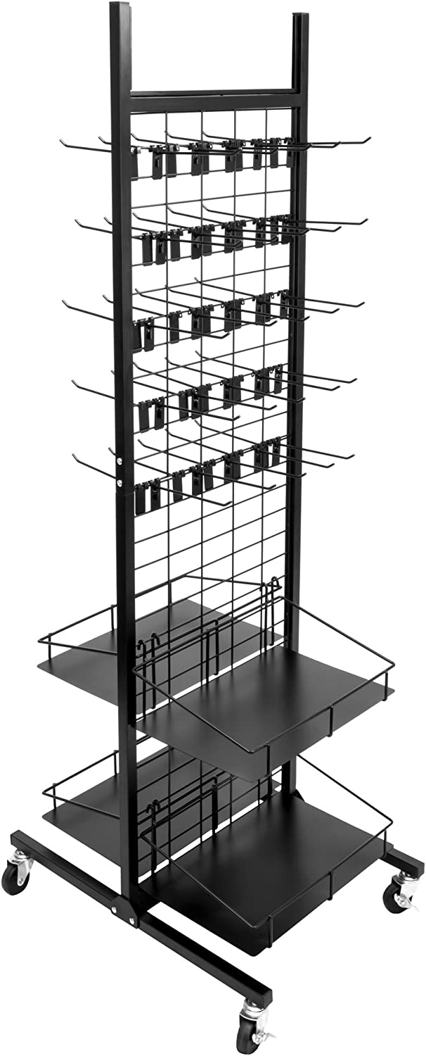 "Rolling Retail Display Merchandising Rack Store Fixture, 66"" Tall x 28"" Footprint, Includes 50 Peg Hooks and 4 Shelves by Brybelly"