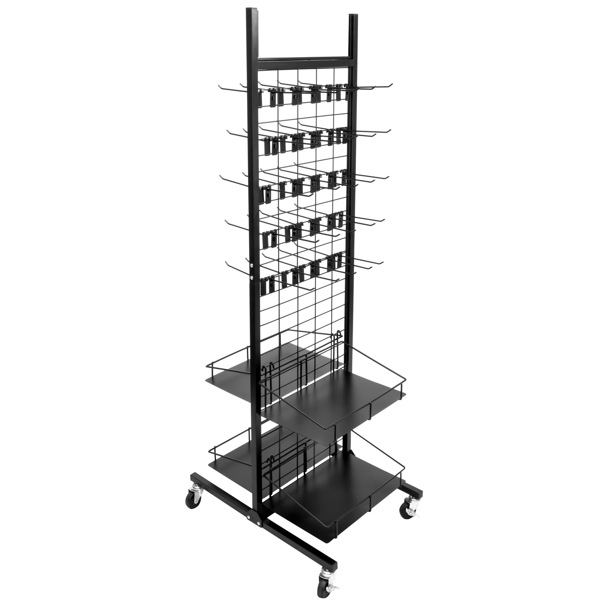 Rolling Retail Display Merchandising Rack Store Fixture, 66'' Tall x 28'' Footprint, Includes 50 Peg Hooks and 4 Shelves by Brybelly