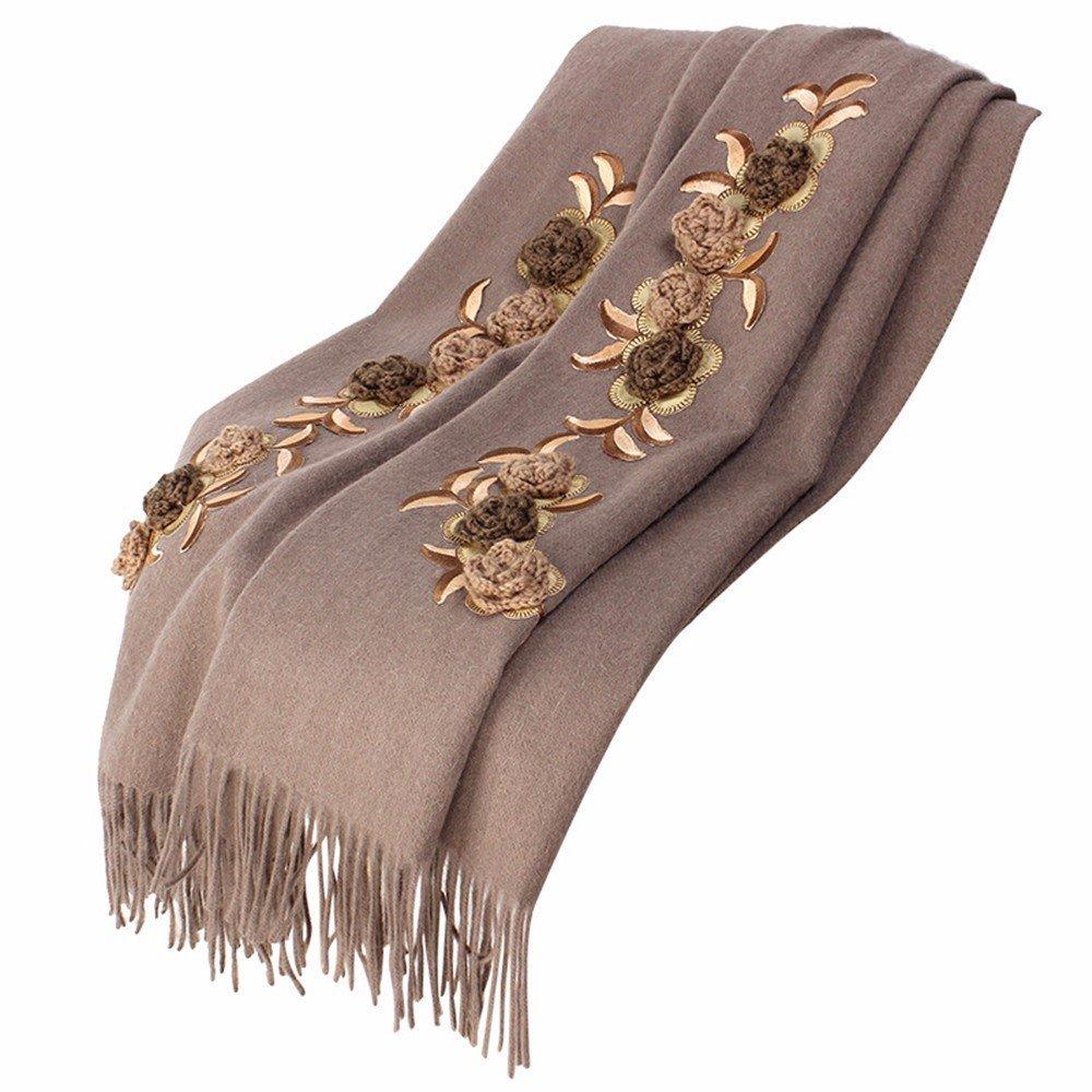 DIDIDD Bufanda-primavera y el invierno bordado bufanda damas aire acondicionado lana engrosamiento c...