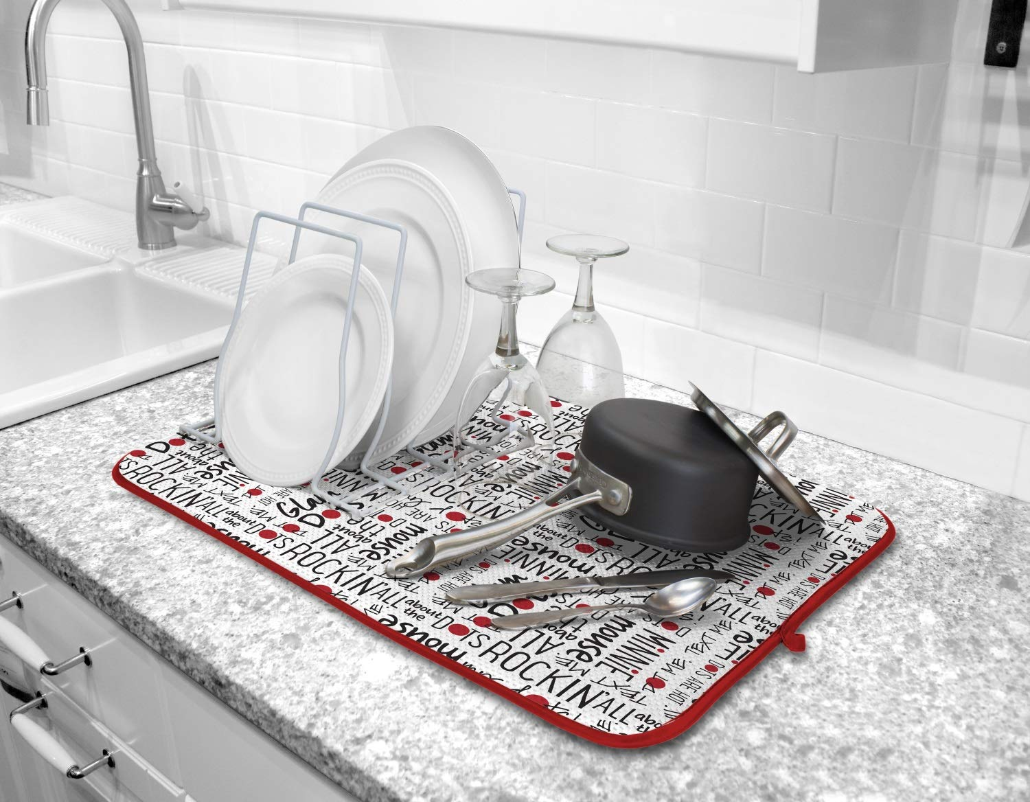 Disney Kitchen Dish Drying Mat- Ultra Absorbent Reversible Microfiber Drying Mat, 16 x 18 inches, Minnie Mouse Glam Dots