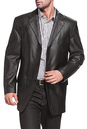 558e21fd12ff BGSD Men s Liam Three-Button Leather Blazer at Amazon Men s Clothing ...