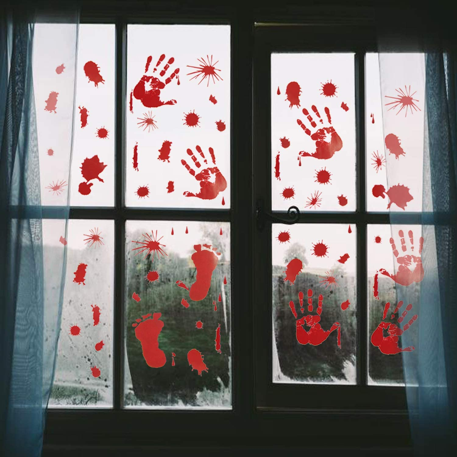 Pawliss Halloween Window Clings Decals Decor, Bloody Handprint Footprint Horror Bathroom Zombie Party Decorations Supplies, 12-Inch by 17-Inch Sheet, 105 Pcs