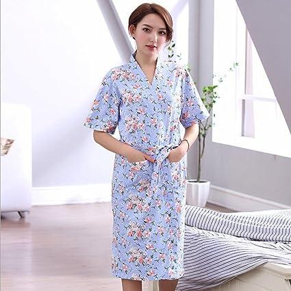 YAN 2018 Mujeres Robe algodón Corto Kimono Batas Bata para SPA Hotel Ropa de Dormir (