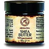 Kaltgepresstes Shea butter 100% rein und natürlich, Karité Body Butter 100 g, Glastiegel, Ghana, Afrika, Körperbutter, Unraffiniert, intensive Pflege Gesicht, Körper, Haare, für Schönheit -Aromatherapie - Massage - Kosmetik - Körperpflege -Multi-funktionales Sheabutter von AROMATIKA