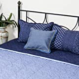 Blue Roman Gothic - Quilted and Embroiderd Bed Cover